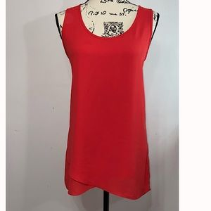 Pleione tomato red sleeveless blouse shirt